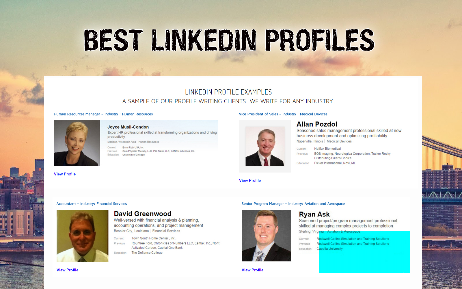 best linkedin profiles